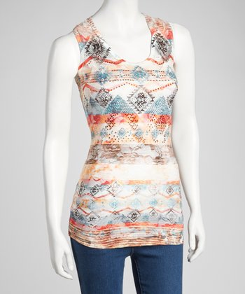 Orange Tribal Embellished Top
