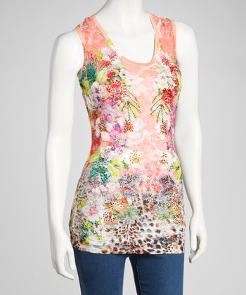 Peach Floral Embellished Top