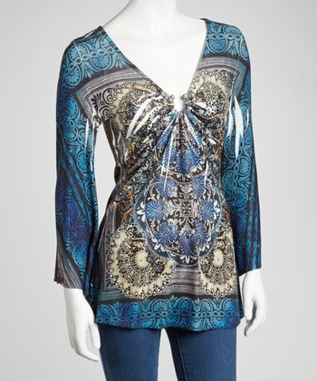 Blue Sublimation Keyhole Long-Sleeve Top