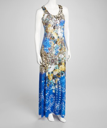 Blue Embellished Leopard Scoop Neck Maxi Dress