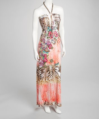 Coral Chain Halter Maxi Dress