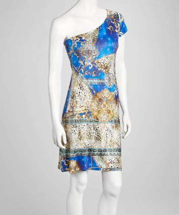 Blue Status Embellished Asymmetrical Dress