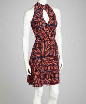 Orange & Navy Tribal Halter Dress