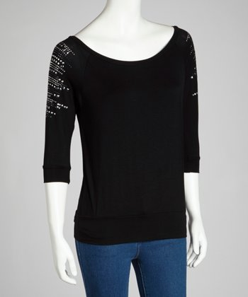 Black Stud Three-Quarter Sleeve Top