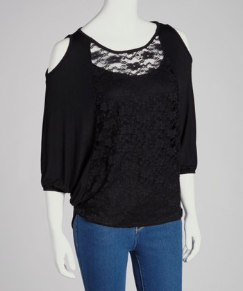 Black Sheer Lace Coutout Top
