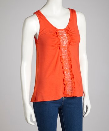 Orange Mod Circles Embroidered Tank