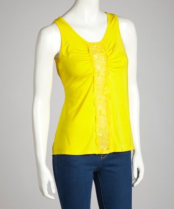 Yellow Mod Circles Embroidered Tank