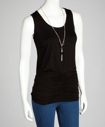 Black Sheer-Back Ruched Tank