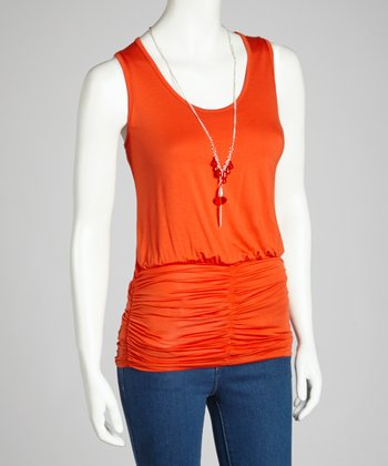 Coral Sheer-Back Ruched Necklace Tank
