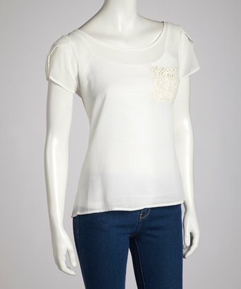White Scoop-Neck Pocket Top
