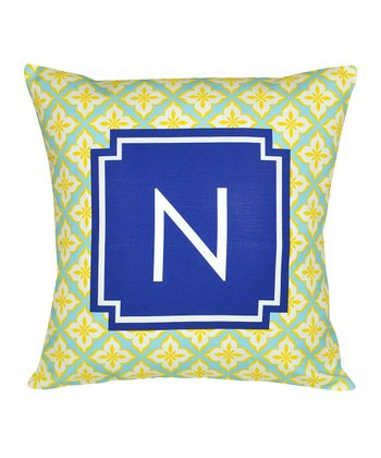 Navy Blue & Yellow initial Pillow
