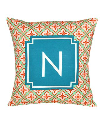Orange & Teal initial Pillow