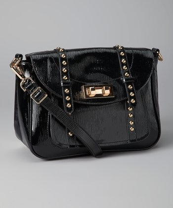 Black Metallic Studded Crossbody Bag