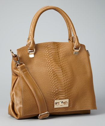 Camel Snakeskin Shoulder Bag