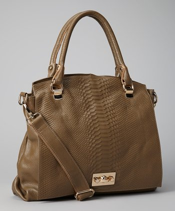 Taupe Snakeskin Shoulder Bag