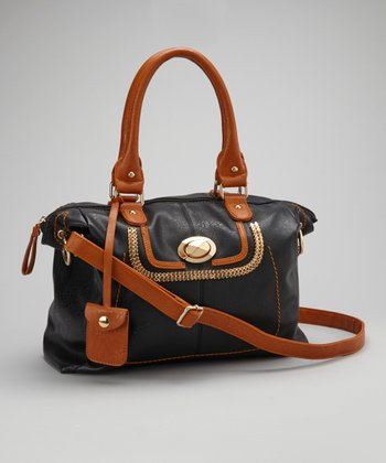 Black & Brown Metal Chain Satchel