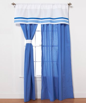 Blue & White Simplicity Curtain Panel - Set of Two