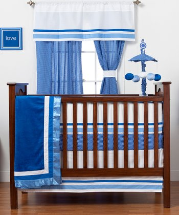 Blue Simplicity Four-Piece Crib Bedding Set