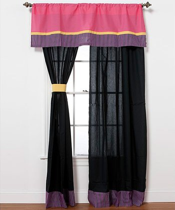 Purple & Black Sassy Shaylee Curtain Panel - Set of Two
