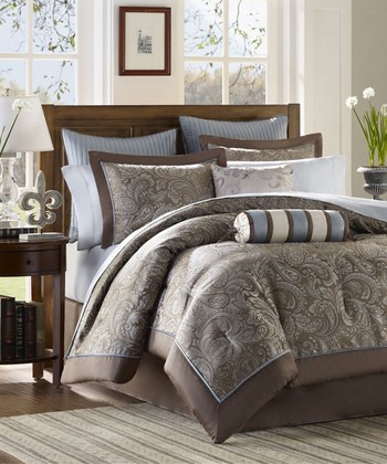 Blue Cora Jacquard Bedding Set