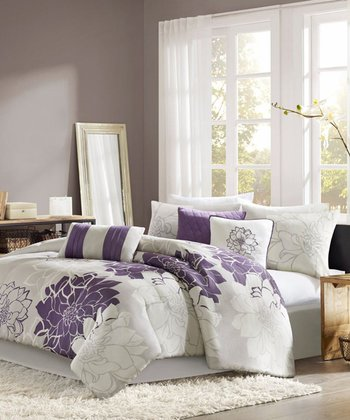 Gray & Purple Elizabeth Comforter Set