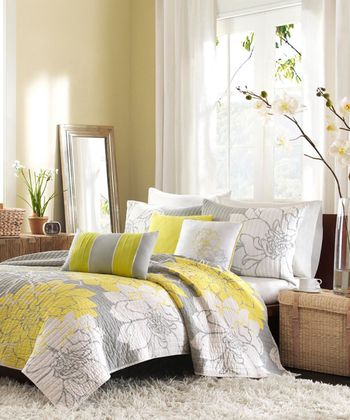 Yellow & Gray Elizabeth Coverlet Set