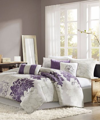 Gray & Purple Elizabeth Duvet Set