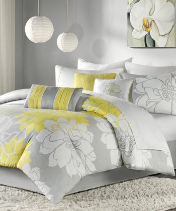 Yellow & Gray Elizabeth Duvet Set