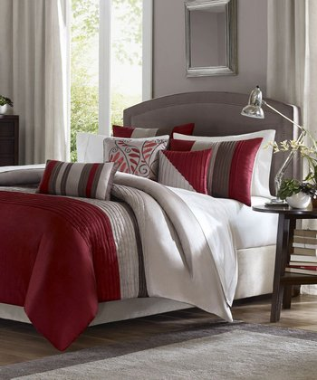 Red Melissa Comforter Set