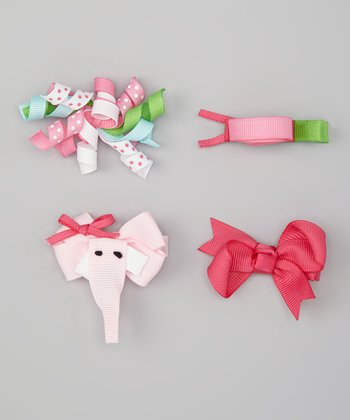 Pink & Green Elephant & Snail Clip Set