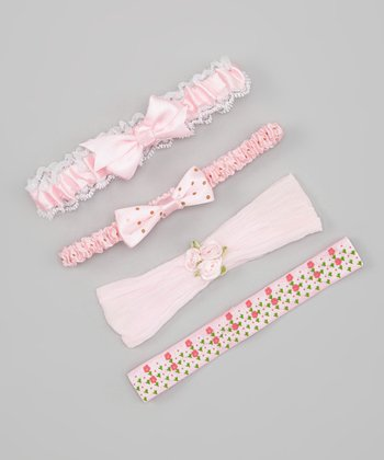 Light Pink & White Floral & Lace Headband Set
