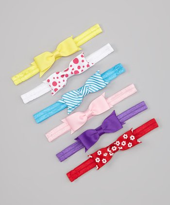 Pink & Red Polka Dot Flower Bow Headband Set