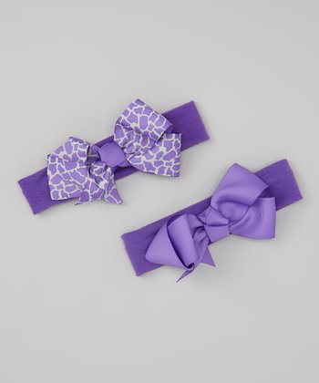 Purple Giraffe Bow Headband Set