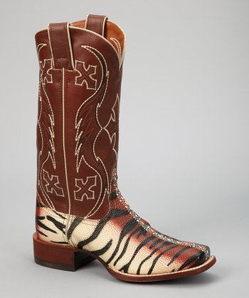 Beige & Black Tiger Ray Safari Cowboy Boot - Women