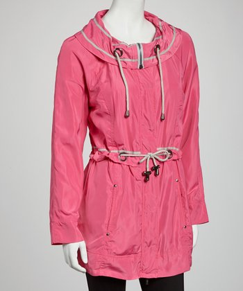 Electric Pink Drawstring Anorak Jacket - Women