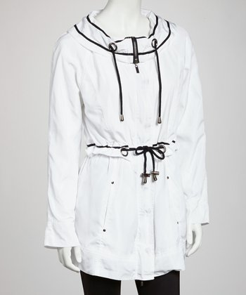 White Drawstring Anorak Jacket - Women
