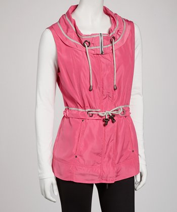 Electric Pink Drawstring Anorak Vest - Women