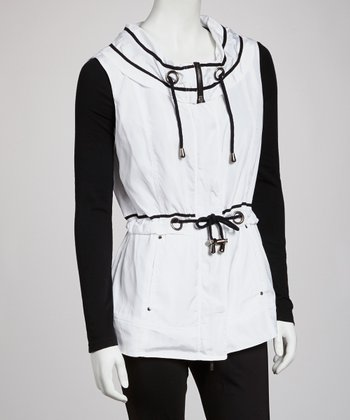 White Drawstring Anorak Vest - Women