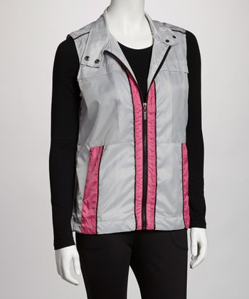Silver Gray & Pink Zip-Up Vest - Women