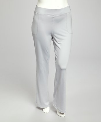 Silver Gray Straight-Leg Yoga Pants - Plus