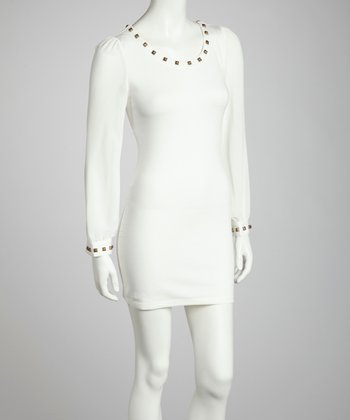 White Metallic Stud Long-Sleeve Dress