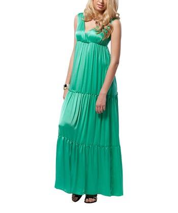 Mint Green Tiered Silk-Blend Maternity Maxi Dress
