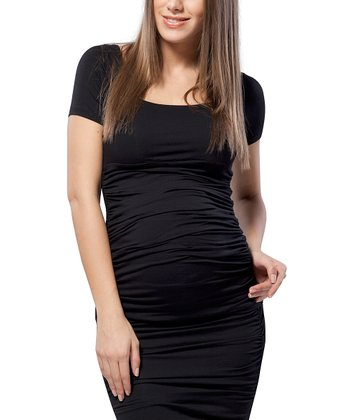 Caviar Black Ruched Maternity Top