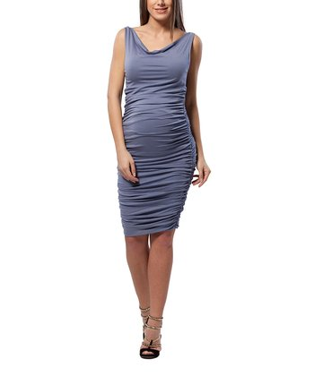 Tempest Blue Ruched Maternity Cowl Neck Dress