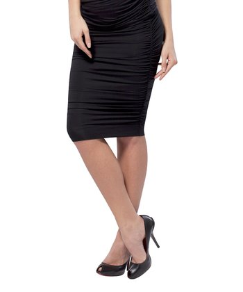 Black Ruched Maternity Pencil Skirt