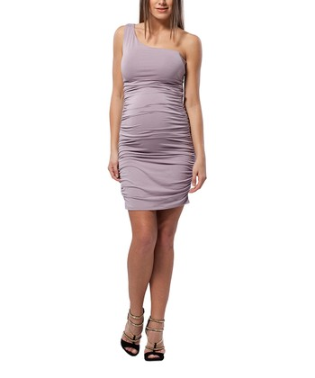 Violet Ash Ruched Maternity Asymmetrical Dress