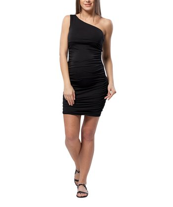 Caviar Black Ruched Maternity Asymmetrical Dress
