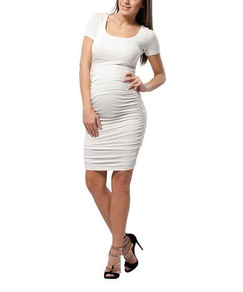 Snow White Ruched Maternity Sheath Dress