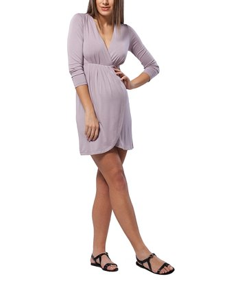 Violet Ash Pleated Long-Sleeve Maternity Surplice Dress
