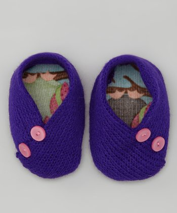 Purple Owl Crocheted Booties